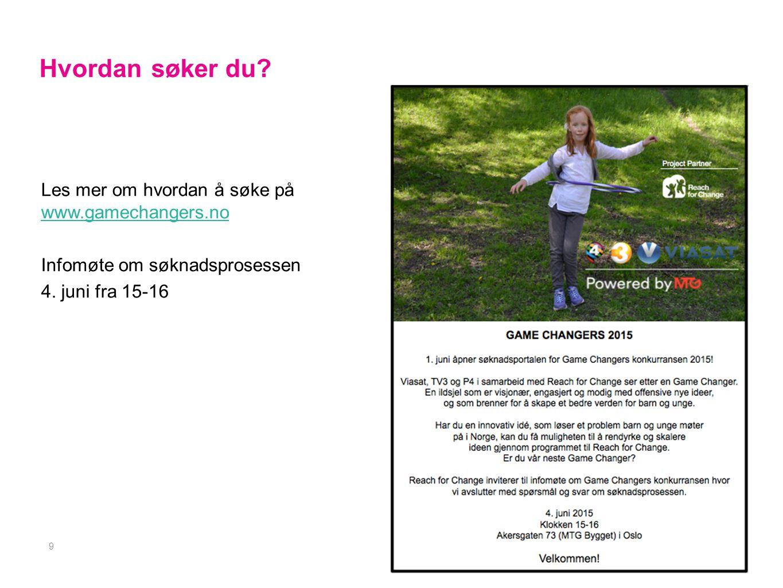 Les mer om hvordan å søke på www.gamechangers.no www.gamechangers.no Infomøte om søknadsprosessen 4.