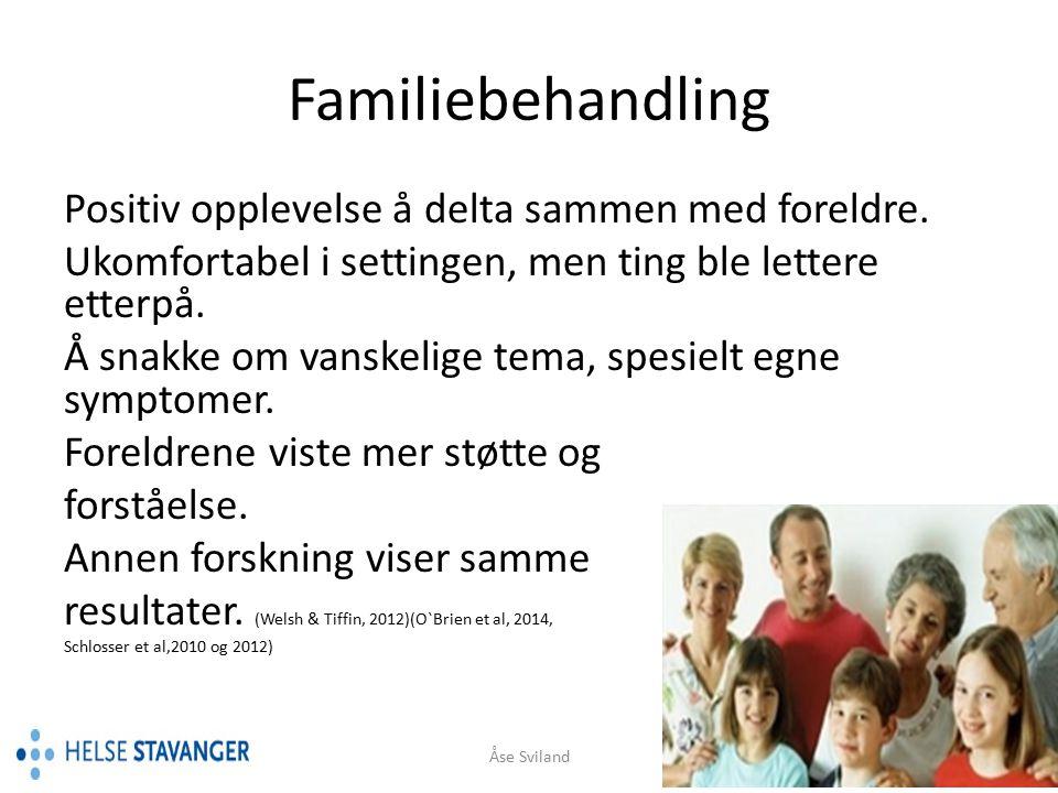 Familiebehandling «Det var vel ting som virket spesifikt på hvordan jeg hadde det og symptomene mine og slike ting.