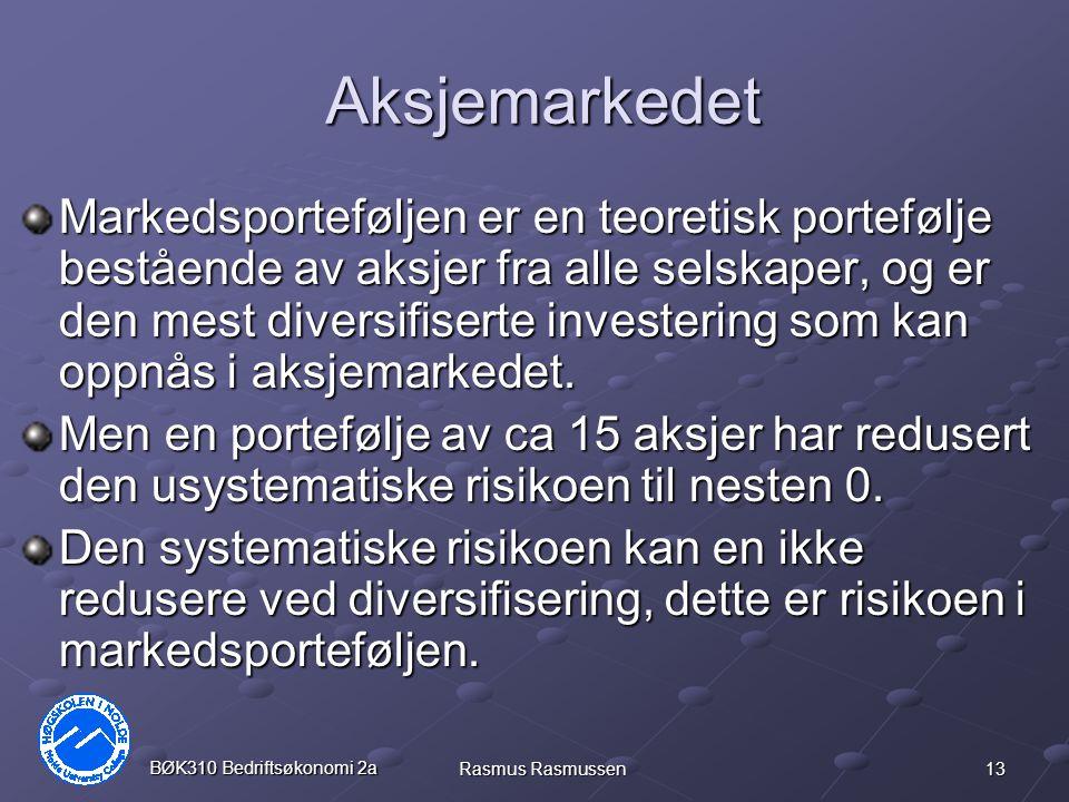 13 BØK310 Bedriftsøkonomi 2a Rasmus Rasmussen Aksjemarkedet Markedsporteføljen er en teoretisk portefølje bestående av aksjer fra alle selskaper, og er den mest diversifiserte investering som kan oppnås i aksjemarkedet.