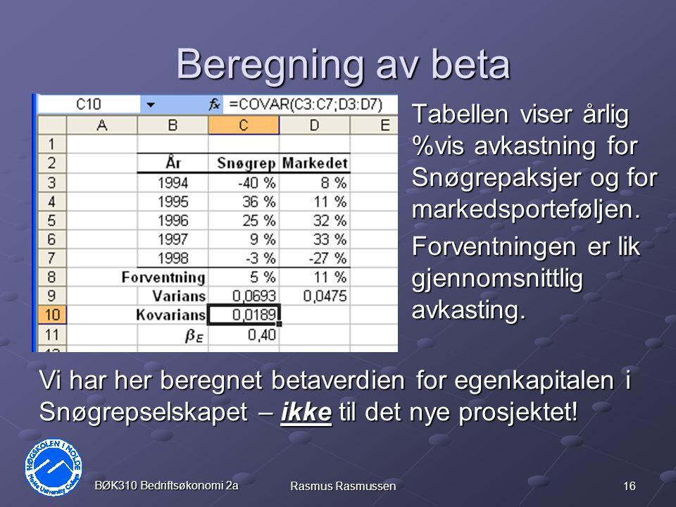 16 BØK310 Bedriftsøkonomi 2a Rasmus Rasmussen Beregning av beta Tabellen viser årlig %vis avkastning for Snøgrepaksjer og for markedsporteføljen.