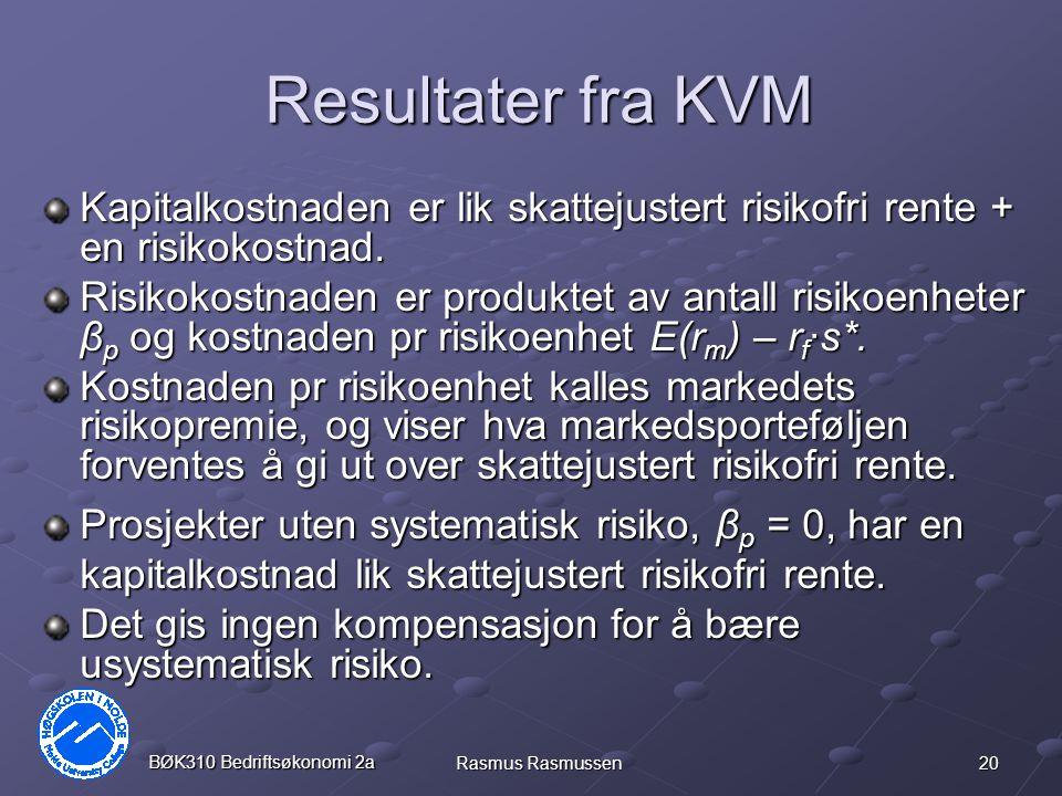 20 BØK310 Bedriftsøkonomi 2a Rasmus Rasmussen Resultater fra KVM Kapitalkostnaden er lik skattejustert risikofri rente + en risikokostnad.