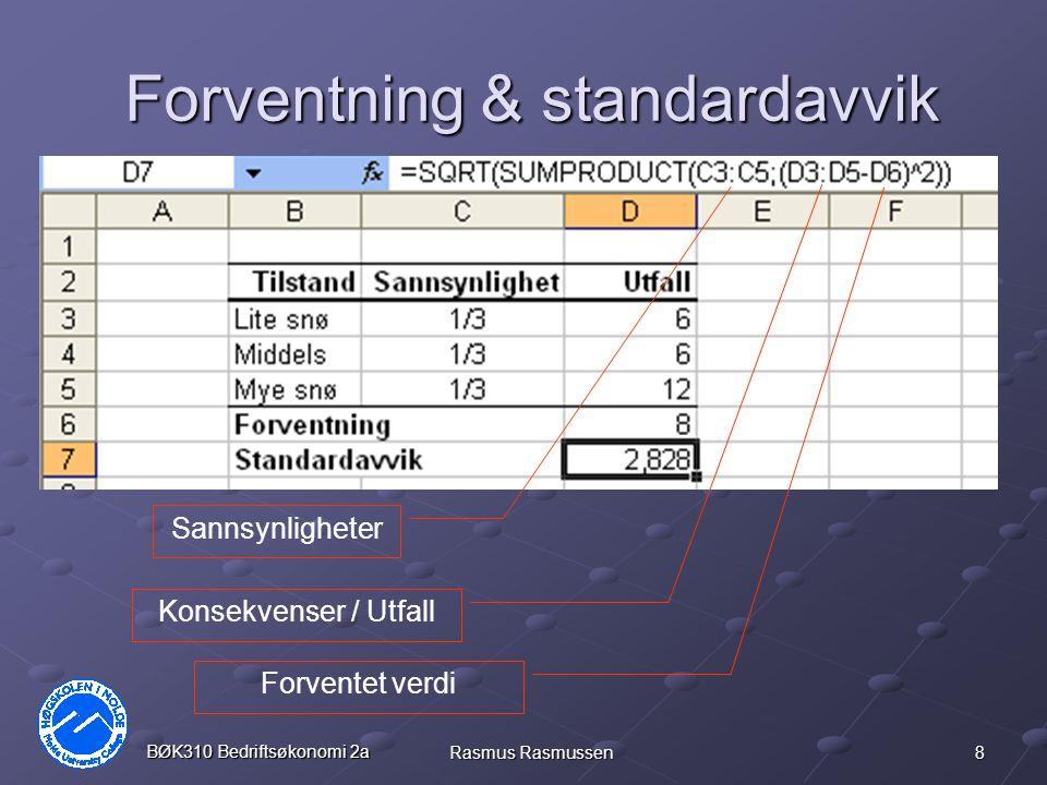 8 BØK310 Bedriftsøkonomi 2a Rasmus Rasmussen Forventning & standardavvik Sannsynligheter Konsekvenser / Utfall Forventet verdi