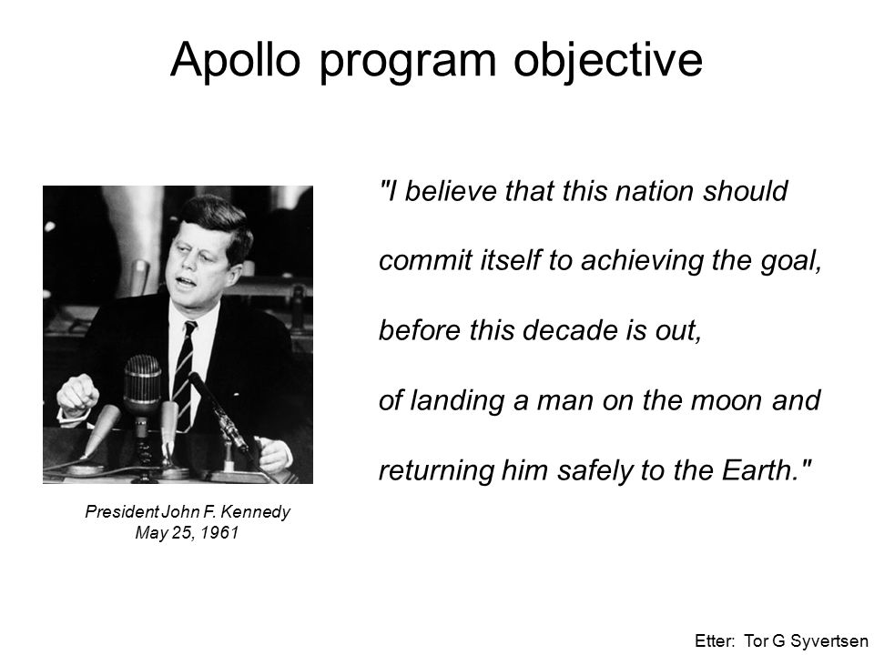 President John F. Kennedy May 25, 1961