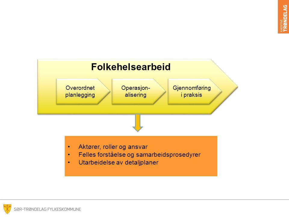 Folkehelsearbeid Operasjon- alisering Overordnet planlegging Gjennomføring i praksis Aktører, roller og ansvar Felles forståelse og samarbeidsprosedyr