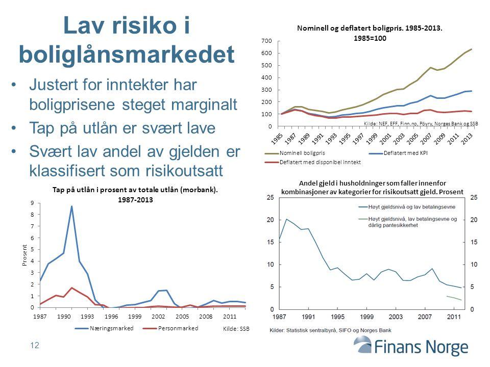 Justert for inntekter har boligprisene steget marginalt Tap på utlån er svært lave Svært lav andel av gjelden er klassifisert som risikoutsatt 12 Lav