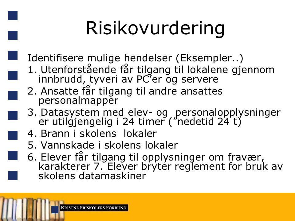 Risikovurdering 1.Vurdere konsekvensene av mulige uønskede hendelser 2.