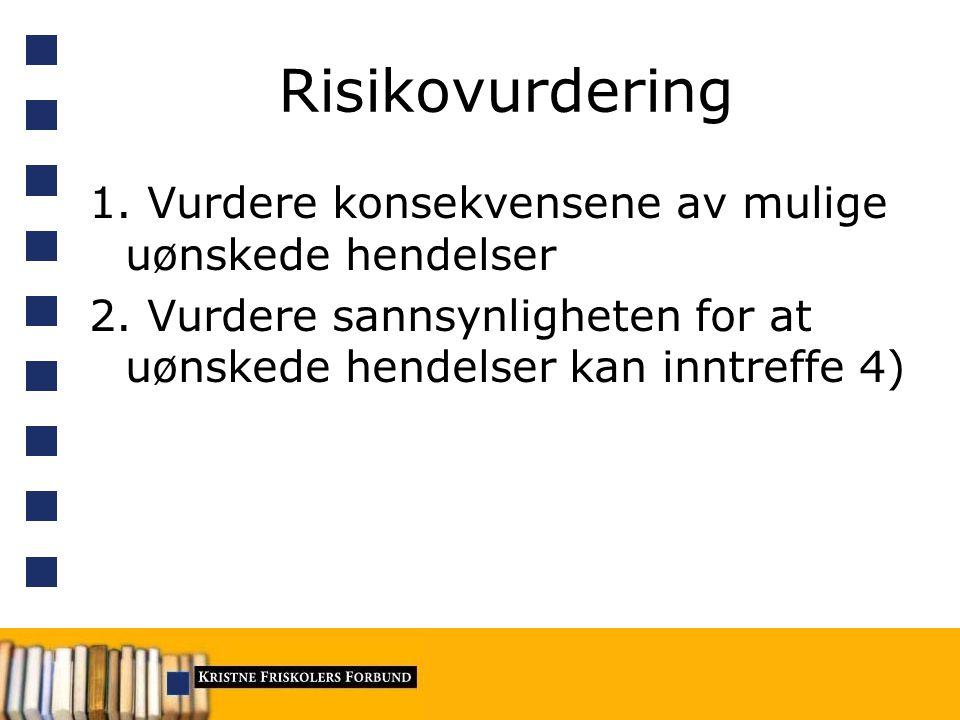 Risikovurdering 1. Vurdere konsekvensene av mulige uønskede hendelser 2.