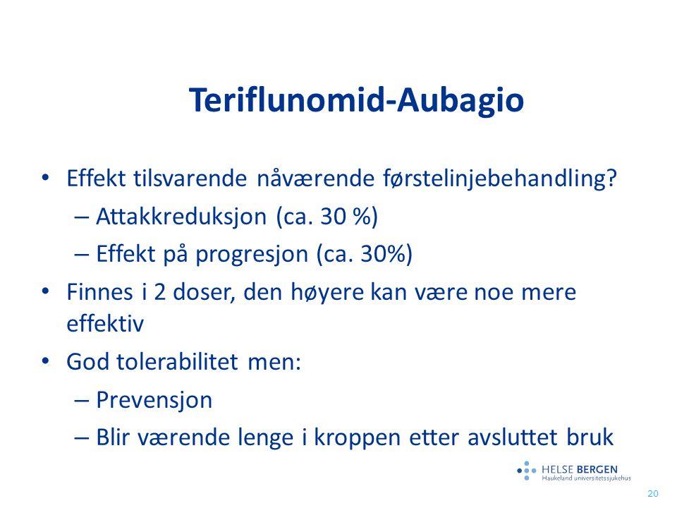 Teriflunomid-Aubagio Effekt tilsvarende nåværende førstelinjebehandling? – Attakkreduksjon (ca. 30 %) – Effekt på progresjon (ca. 30%) Finnes i 2 dose