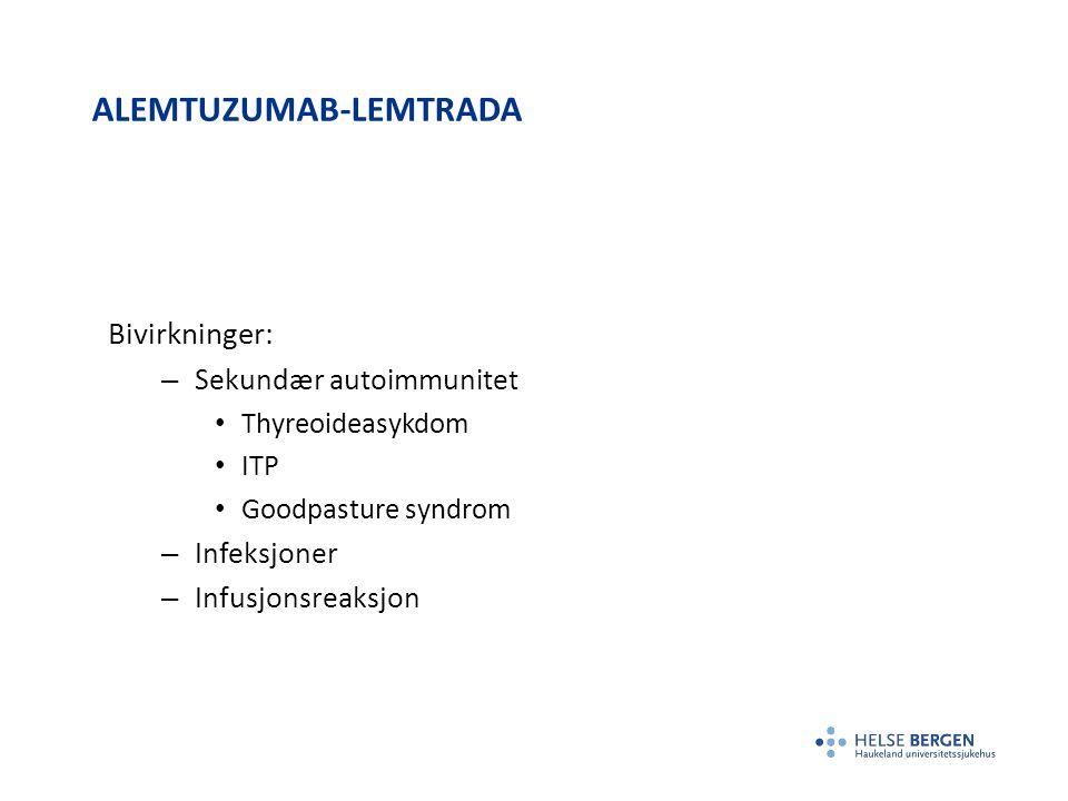 ALEMTUZUMAB-LEMTRADA Bivirkninger: – Sekundær autoimmunitet Thyreoideasykdom ITP Goodpasture syndrom – Infeksjoner – Infusjonsreaksjon