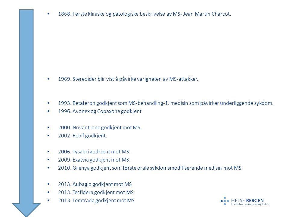 1868. Første kliniske og patologiske beskrivelse av MS- Jean Martin Charcot. 1969. Stereoider blir vist å påvirke varigheten av MS-attakker. 1993. Bet