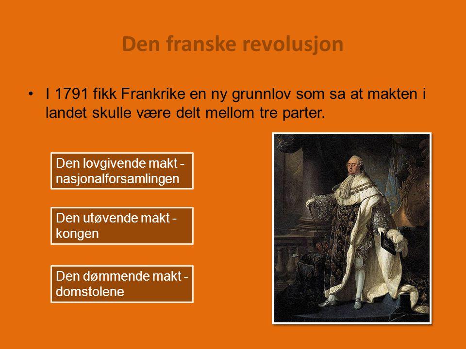 Den franske revolusjon I 1791 fikk Frankrike en ny grunnlov som sa at makten i landet skulle være delt mellom tre parter.