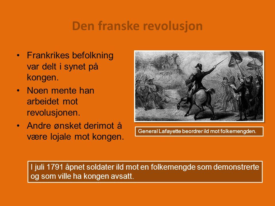 Den franske revolusjon Frankrikes befolkning var delt i synet på kongen.