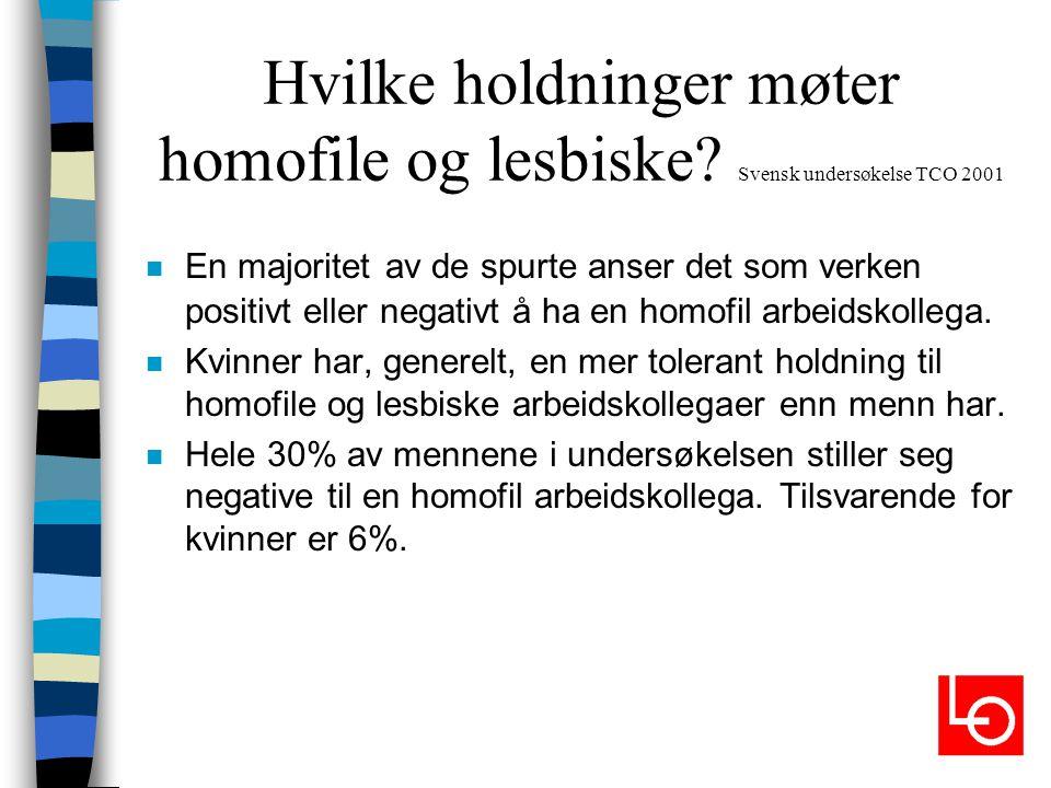 Hvilke holdninger møter homofile og lesbiske? Svensk undersøkelse TCO 2001 n En majoritet av de spurte anser det som verken positivt eller negativt å
