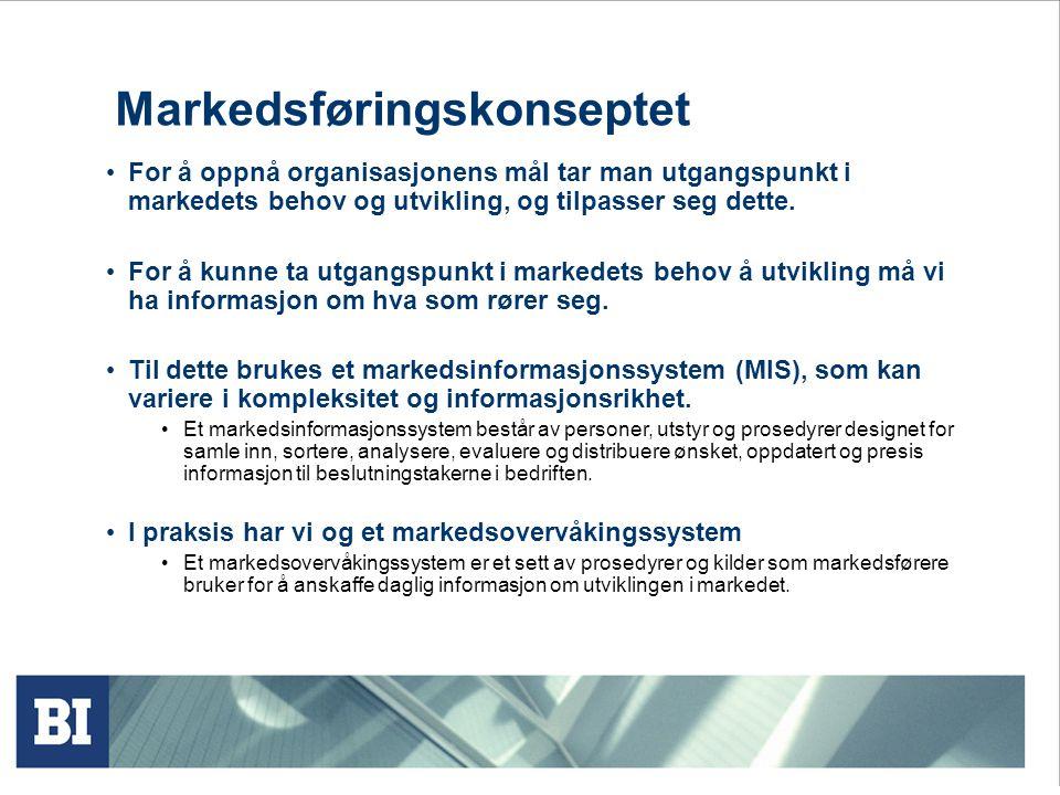 Markedsføringskonseptet For å oppnå organisasjonens mål tar man utgangspunkt i markedets behov og utvikling, og tilpasser seg dette.