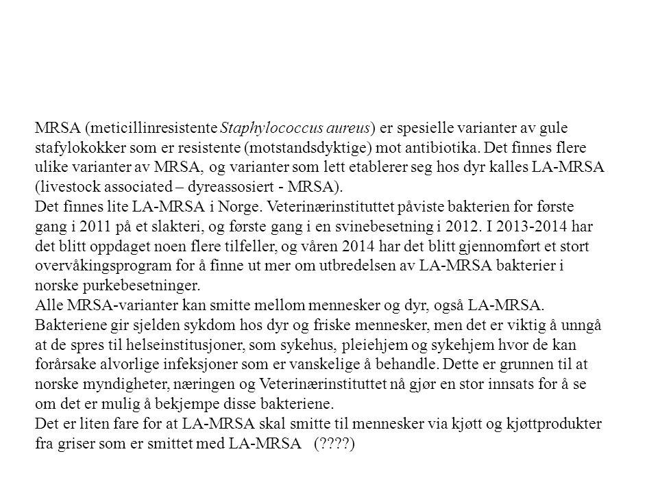 MRSA (meticillinresistente Staphylococcus aureus) er spesielle varianter av gule stafylokokker som er resistente (motstandsdyktige) mot antibiotika. D
