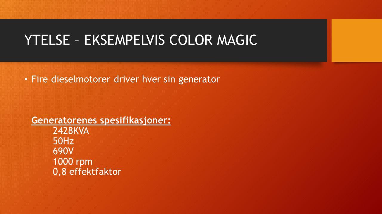 YTELSE – EKSEMPELVIS COLOR MAGIC Fire dieselmotorer driver hver sin generator Generatorenes spesifikasjoner: 2428KVA 50Hz 690V 1000 rpm 0,8 effektfakt