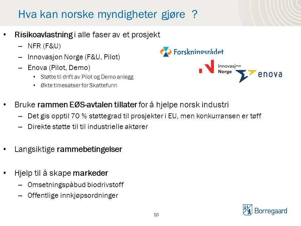 Hva kan norske myndigheter gjøre ? Risikoavlastning i alle faser av et prosjekt – NFR (F&U) – Innovasjon Norge (F&U, Pilot) – Enova (Pilot, Demo) Støt