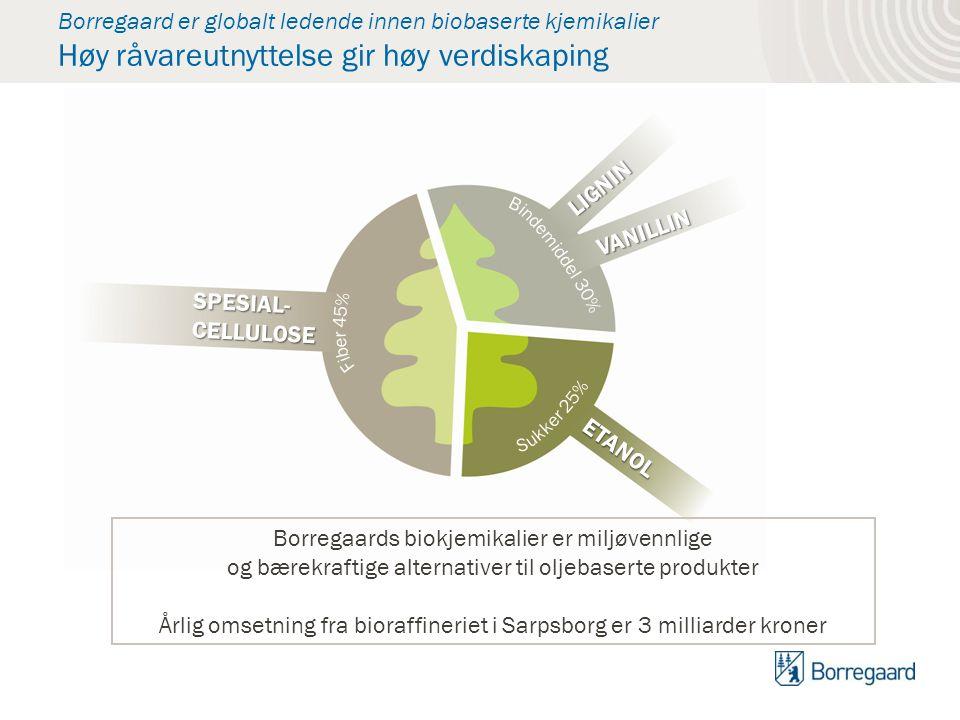 Borregaard er globalt ledende innen biobaserte kjemikalier Høy råvareutnyttelse gir høy verdiskaping SPESIAL- CELLULOSE VANILLIN LIGNIN ETANOL Borrega