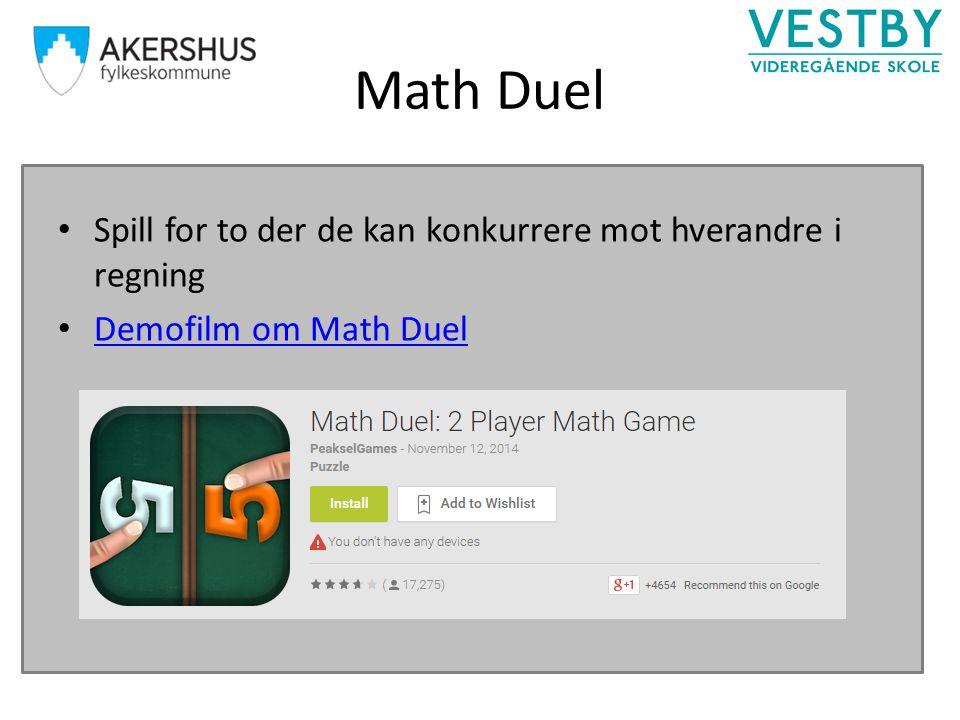 Math Duel Spill for to der de kan konkurrere mot hverandre i regning Demofilm om Math Duel