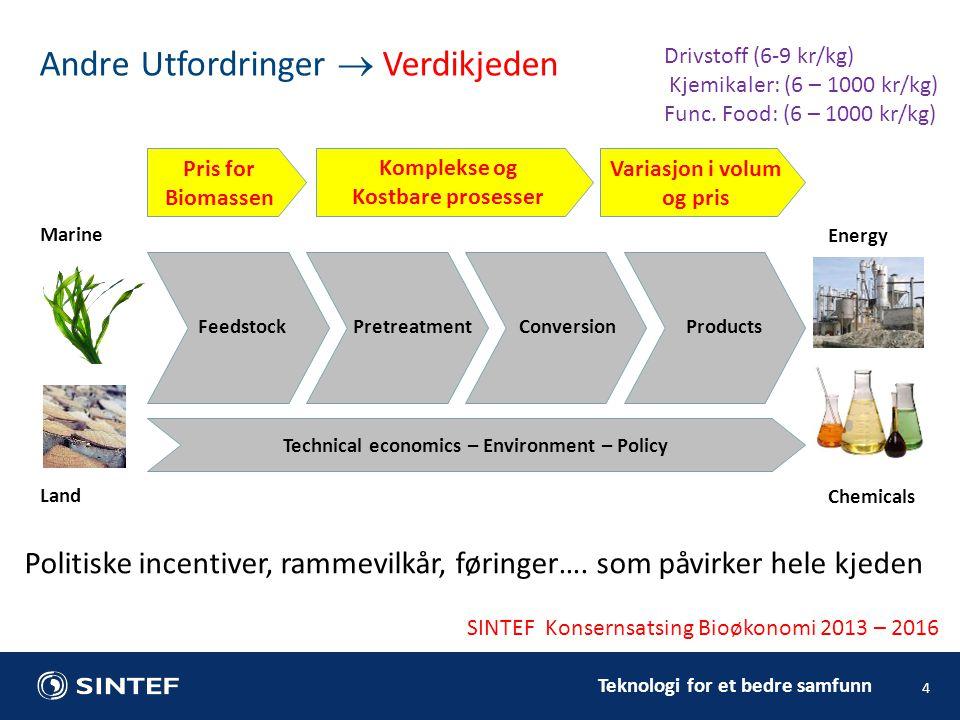 Teknologi for et bedre samfunn 4 Andre Utfordringer  Verdikjeden Drivstoff (6-9 kr/kg) Kjemikaler: (6 – 1000 kr/kg) Func.