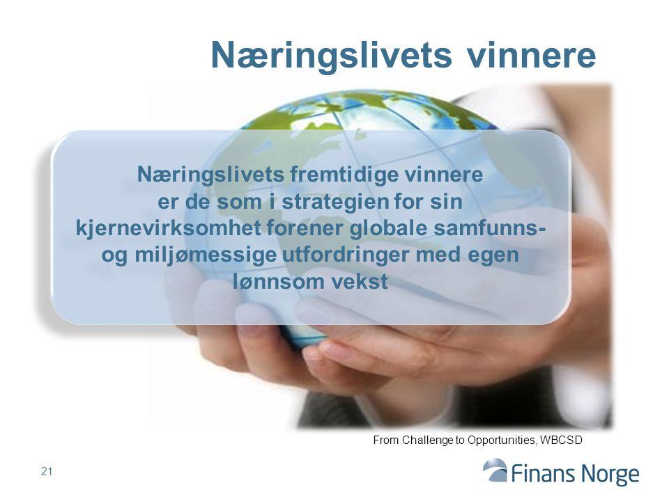 Næringslivets vinnere Næringslivets fremtidige vinnere er de som i strategien for sin kjernevirksomhet forener globale samfunns- og miljømessige utfordringer med egen lønnsom vekst From Challenge to Opportunities, WBCSD 21