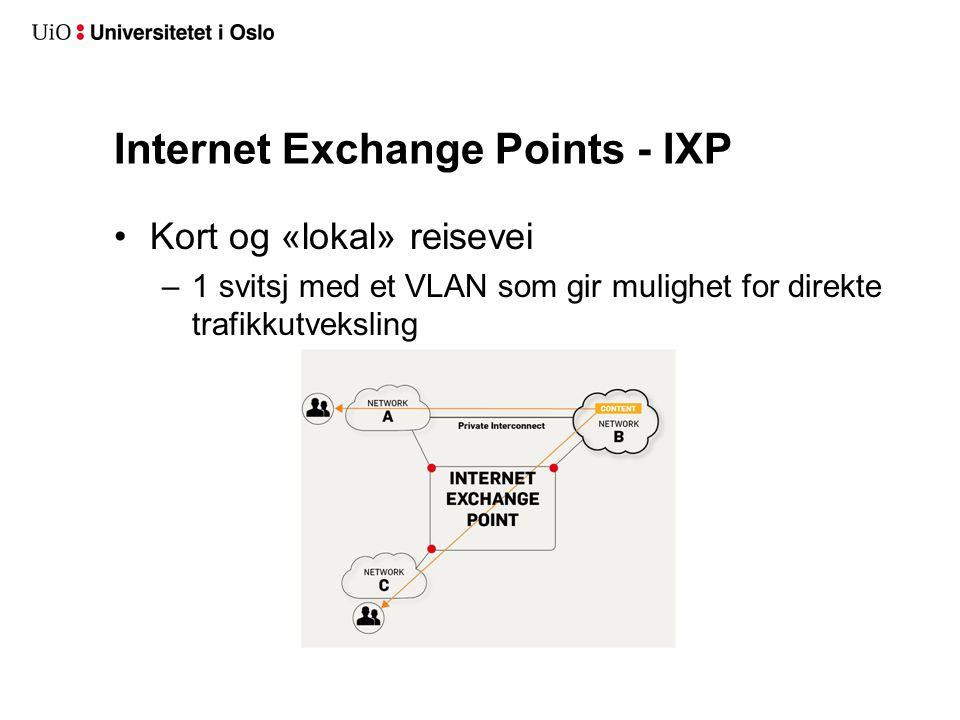 Internet Exchange Points - IXP Kort og «lokal» reisevei –1 svitsj med et VLAN som gir mulighet for direkte trafikkutveksling