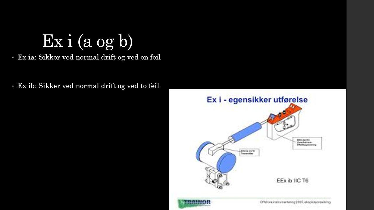 Ex i (a og b) Ex ia: Sikker ved normal drift og ved en feil Ex ib: Sikker ved normal drift og ved to feil