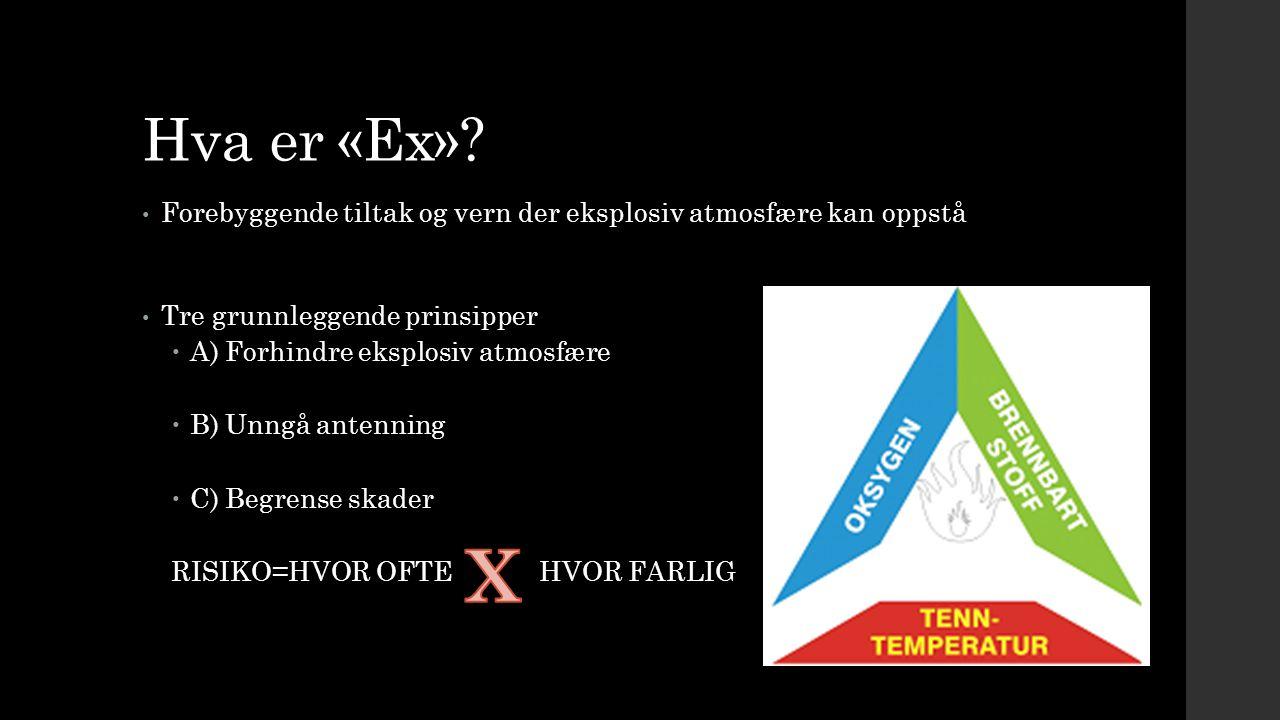 Hva er «Ex»? Forebyggende tiltak og vern der eksplosiv atmosfære kan oppstå Tre grunnleggende prinsipper  A) Forhindre eksplosiv atmosfære  B) Unngå