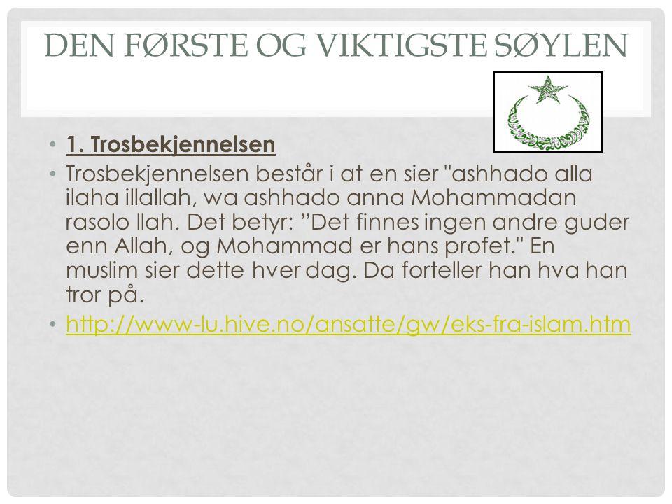 2.SALAH Den andre søylen er salah. Salah betyr bønn.