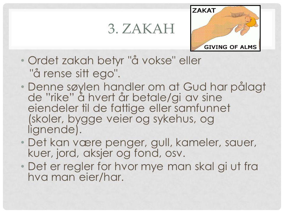 3. ZAKAH Ordet zakah betyr