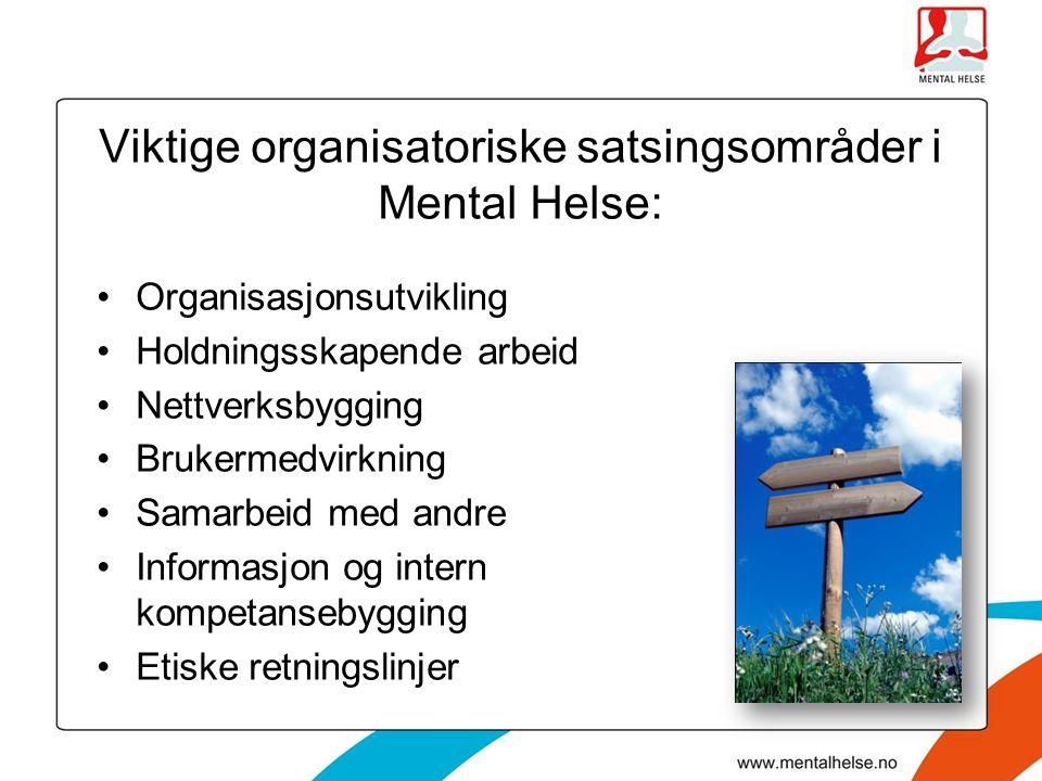 Viktige organisatoriske satsingsområder i Mental Helse: Organisasjonsutvikling Holdningsskapende arbeid Nettverksbygging Brukermedvirkning Samarbeid m