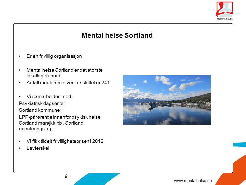 Mental helse Sortland Er en frivillig organisasjon Mental helse Sortland er det største lokallaget i nord. Antall medlemmer ved årsskiftet er 241 Vi s