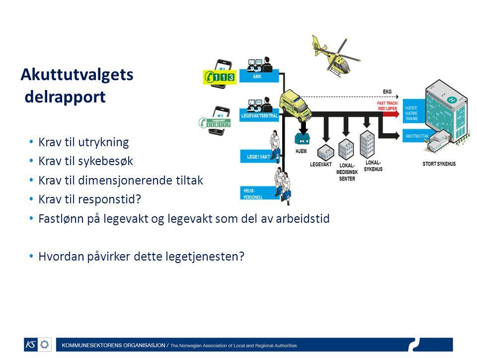 Akuttutvalgets delrapport Krav til utrykning Krav til sykebesøk Krav til dimensjonerende tiltak Krav til responstid.