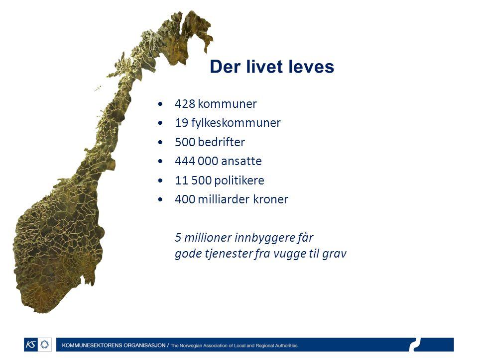 428 kommuner 19 fylkeskommuner 500 bedrifter 444 000 ansatte 11 500 politikere 400 milliarder kroner 5 millioner innbyggere får gode tjenester fra vugge til grav Der livet leves