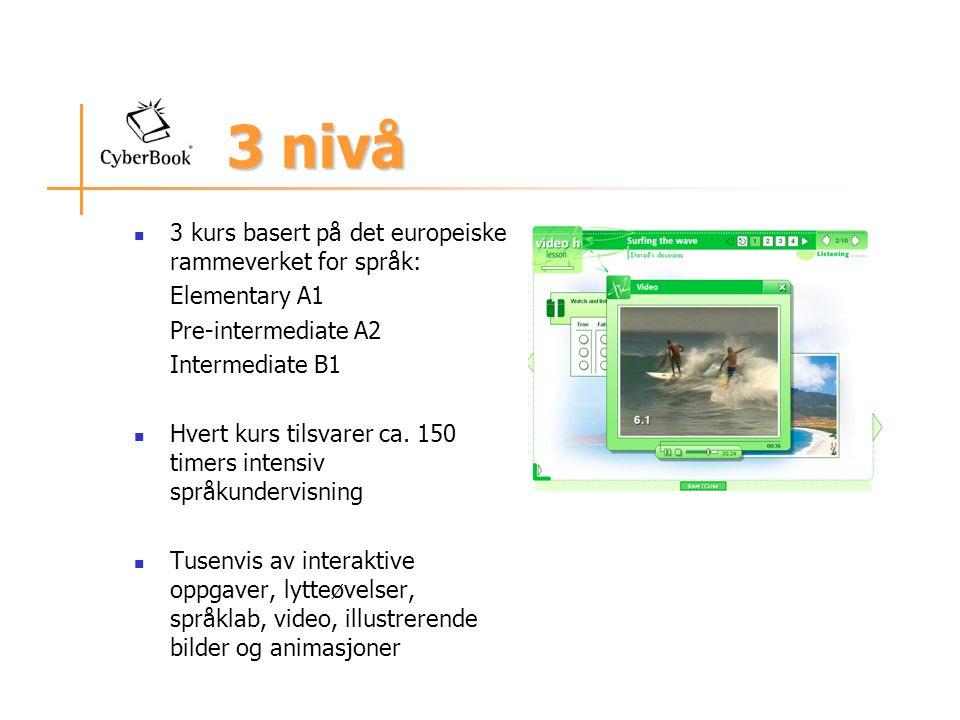 3 nivå 3 kurs basert på det europeiske rammeverket for språk: Elementary A1 Pre-intermediate A2 Intermediate B1 Hvert kurs tilsvarer ca. 150 timers in