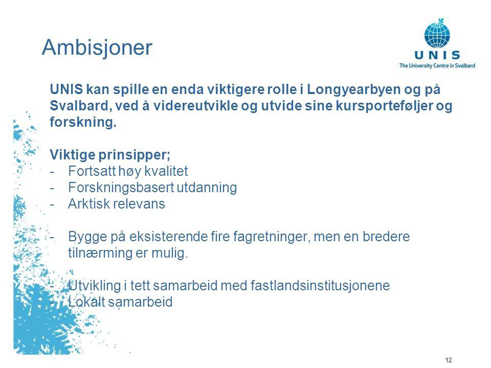 12 Ambisjoner UNIS kan spille en enda viktigere rolle i Longyearbyen og på Svalbard, ved å videreutvikle og utvide sine kursporteføljer og forskning.