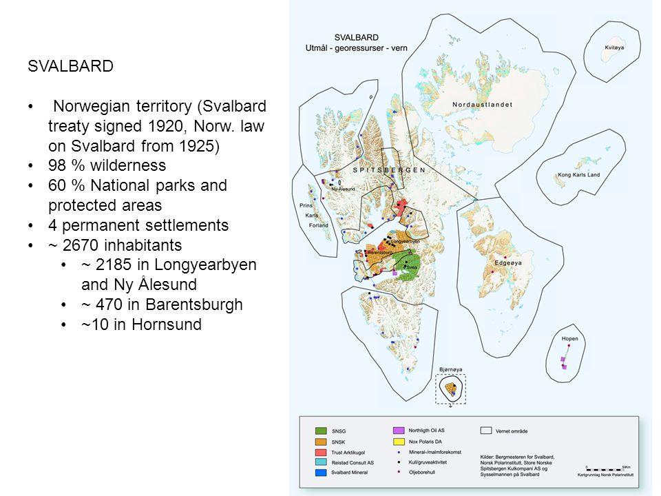 SVALBARD Norwegian territory (Svalbard treaty signed 1920, Norw.