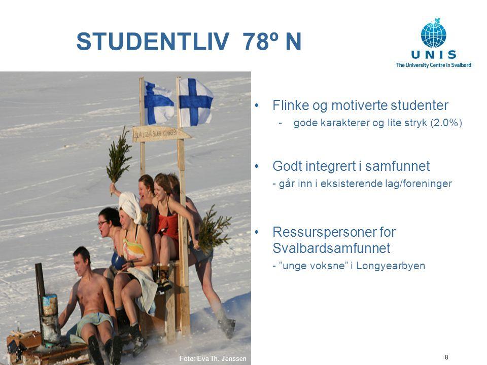 8 STUDENTLIV 78º N Flinke og motiverte studenter -gode karakterer og lite stryk (2.0%) Godt integrert i samfunnet - går inn i eksisterende lag/foreninger Ressurspersoner for Svalbardsamfunnet - unge voksne i Longyearbyen Foto: Eva Th.