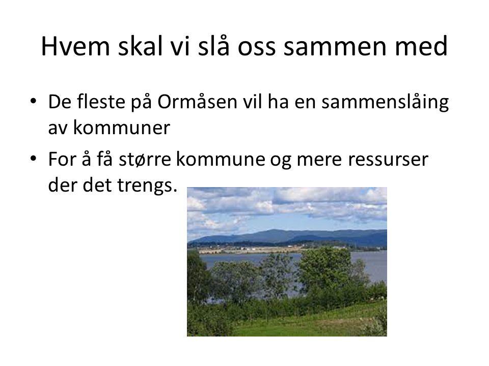 Hvem skal vi slå oss sammen med De fleste på Ormåsen vil ha en sammenslåing av kommuner For å få større kommune og mere ressurser der det trengs.