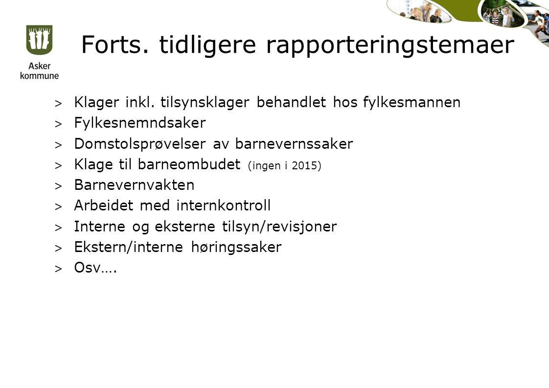 Forts. tidligere rapporteringstemaer > Klager inkl.