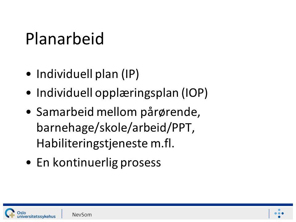 Planarbeid Individuell plan (IP) Individuell opplæringsplan (IOP) Samarbeid mellom pårørende, barnehage/skole/arbeid/PPT, Habiliteringstjeneste m.fl.