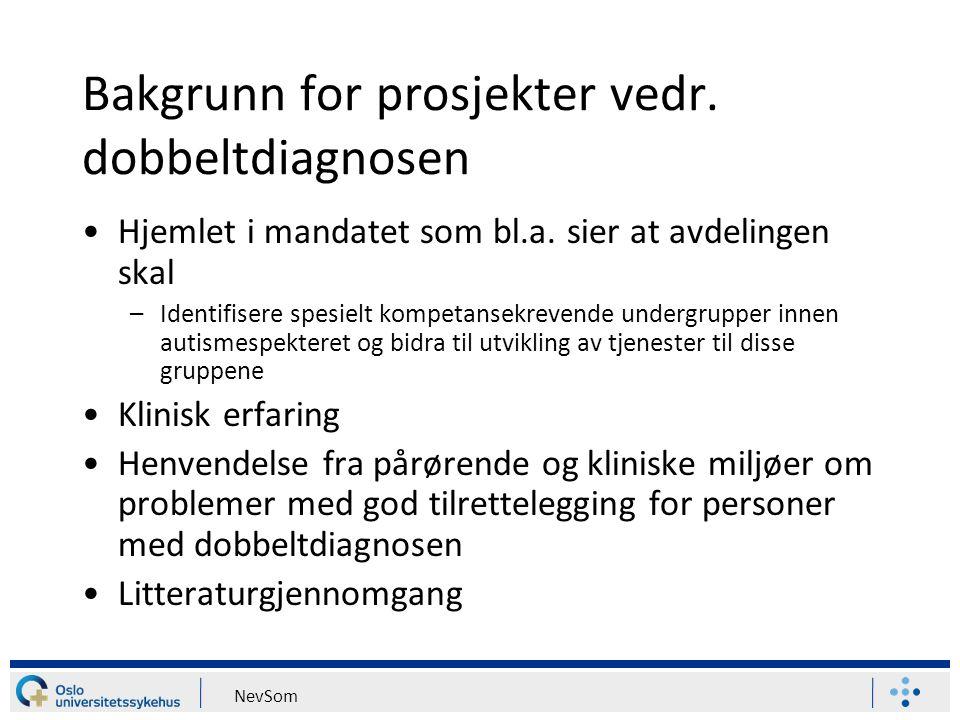 Bakgrunn for prosjekter vedr. dobbeltdiagnosen Hjemlet i mandatet som bl.a. sier at avdelingen skal –Identifisere spesielt kompetansekrevende undergru