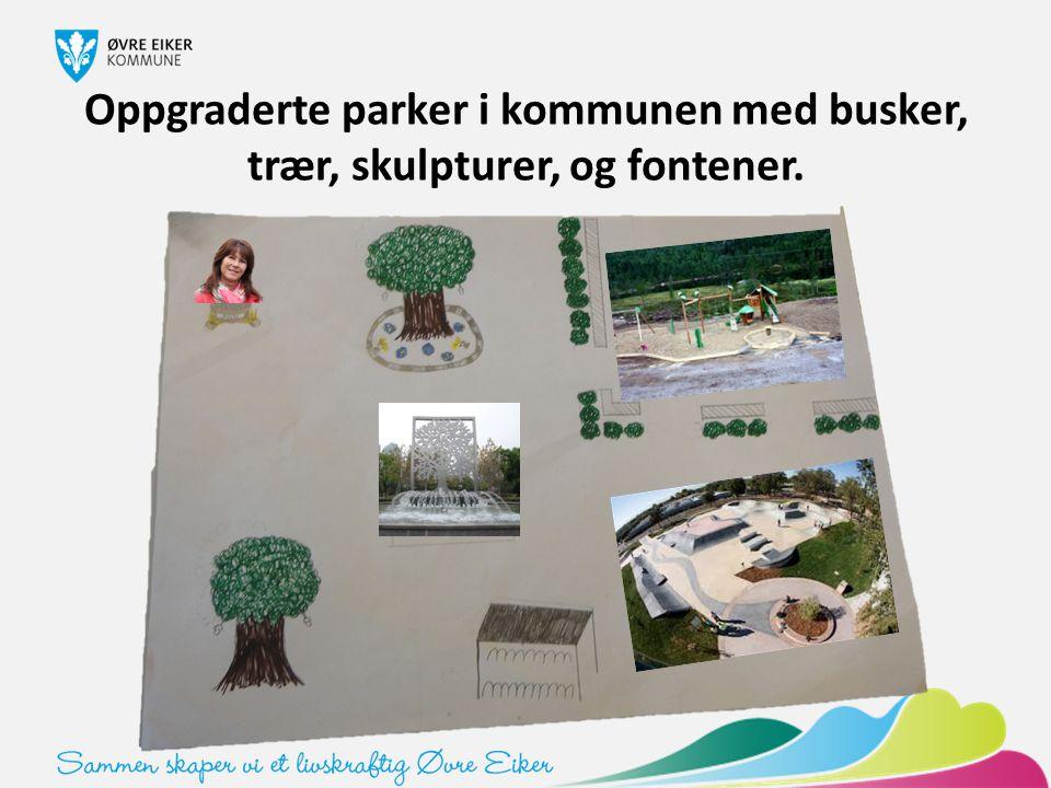 Oppgraderte parker i kommunen med busker, trær, skulpturer, og fontener.