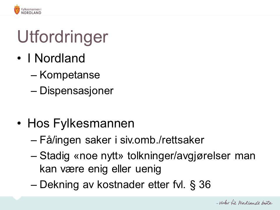 Utfordringer I Nordland –Kompetanse –Dispensasjoner Hos Fylkesmannen –Få/ingen saker i siv.omb./rettsaker –Stadig «noe nytt» tolkninger/avgjørelser ma
