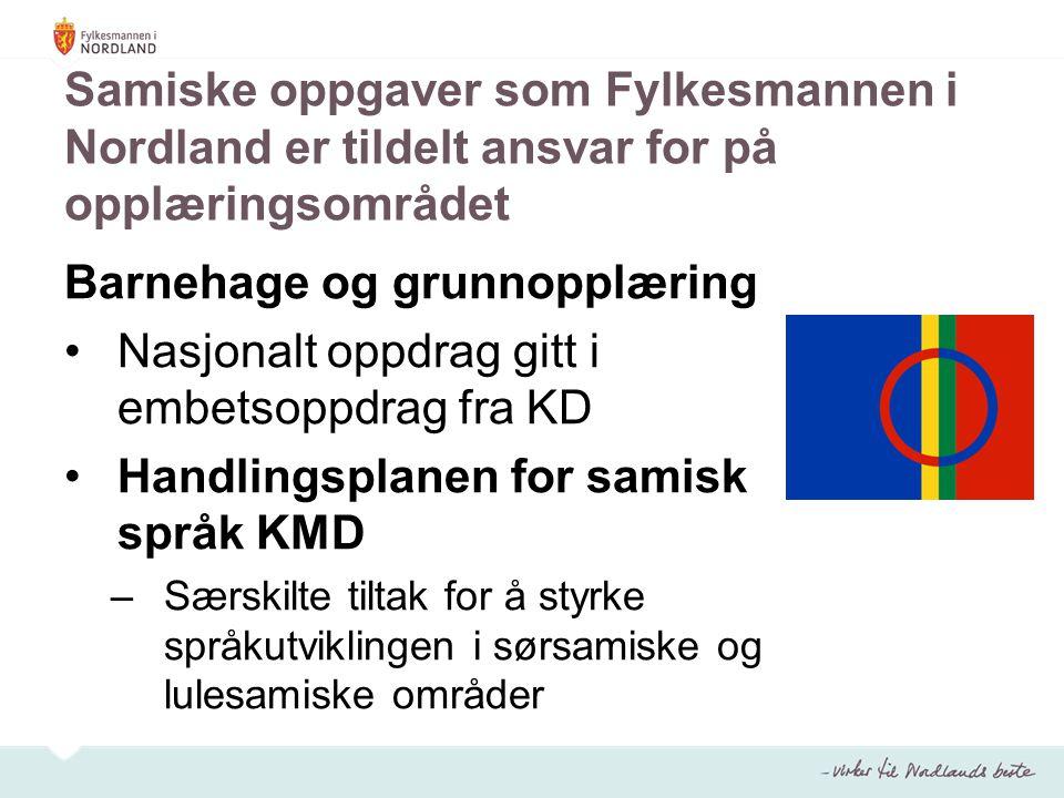 Samiske oppgaver som Fylkesmannen i Nordland er tildelt ansvar for på opplæringsområdet Barnehage og grunnopplæring Nasjonalt oppdrag gitt i embetsoppdrag fra KD Handlingsplanen for samisk språk KMD –Særskilte tiltak for å styrke språkutviklingen i sørsamiske og lulesamiske områder