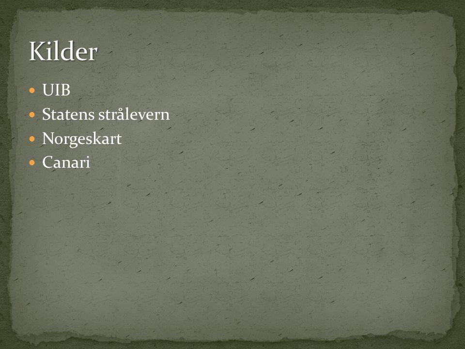 UIB Statens strålevern Norgeskart Canari