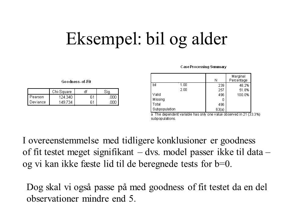 Eksempel: bil og alder I overeenstemmelse med tidligere konklusioner er goodness of fit testet meget signifikant – dvs. model passer ikke til data – o