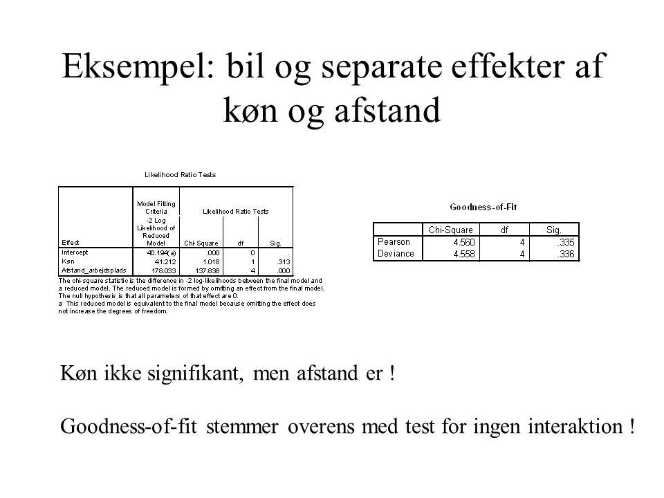 Eksempel: bil og separate effekter af køn og afstand Køn ikke signifikant, men afstand er ! Goodness-of-fit stemmer overens med test for ingen interak
