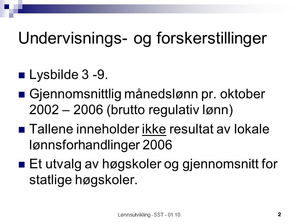 Lønnsutvikling - SST - 01.10.2 Undervisnings- og forskerstillinger Lysbilde 3 -9.