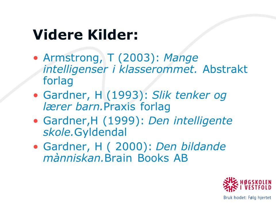 Videre Kilder: Armstrong, T (2003): Mange intelligenser i klasserommet. Abstrakt forlag Gardner, H (1993): Slik tenker og lærer barn.Praxis forlag Gar